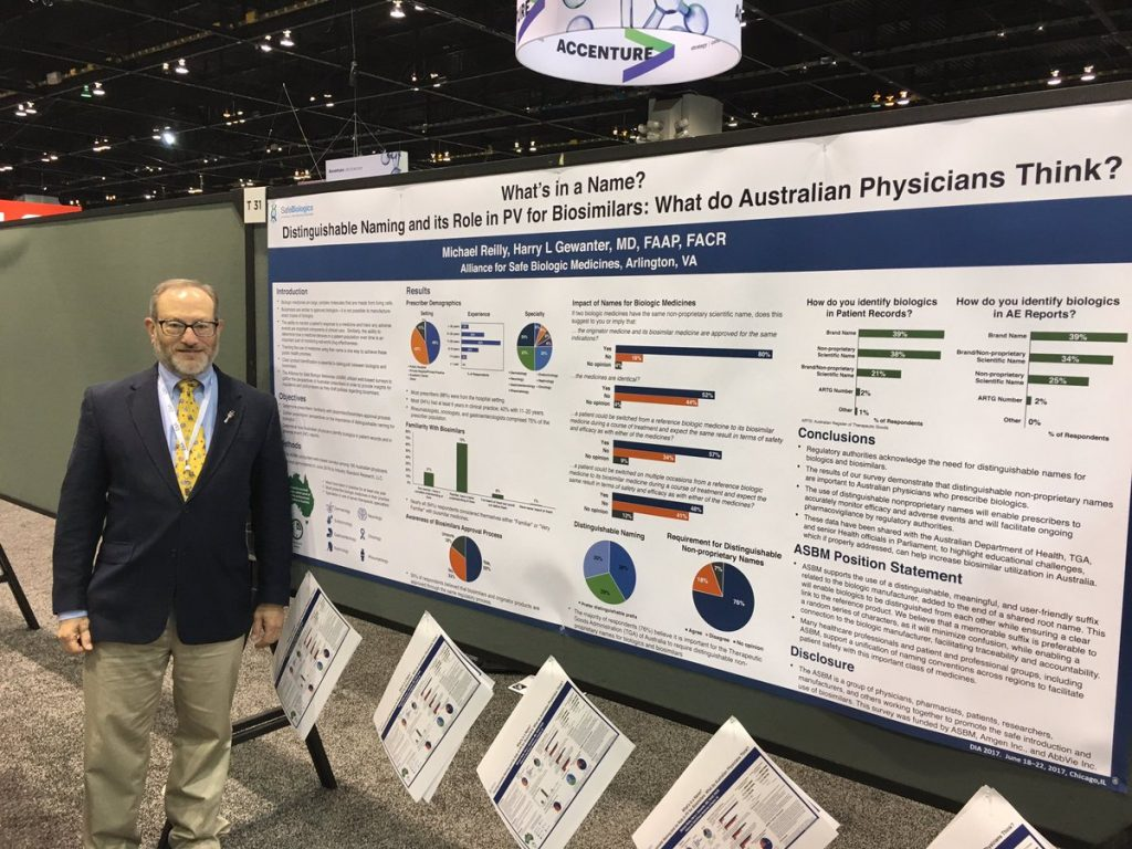 Dr. Gewanter present a poster based on findings from ASBM's recent survey of Australian prescribers of biologics.