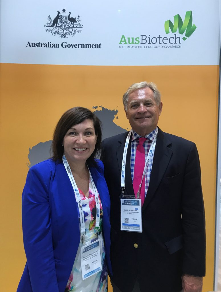 ASBM Advisory Board Chair Philip J Schneider meets with The Hon. Leaanne Enoch, Member of Australian Parliament, in the Australian Pavilion.