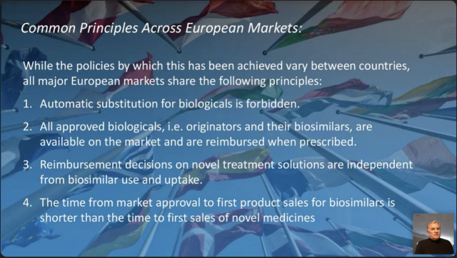 ASBM Advisory Board Chair Philip Schneider explains common features of biosimilar markets across Europe which have contributed to their success.